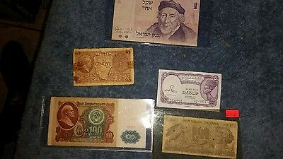 Lot of 5 - Italiana/Israel/Egypt Old Bank Notes & Paper Money - 1 is really RARE