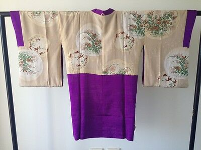 Vintage Japanese Purple Silk Kimono Woman's One of a Kind Hand Made Jacket