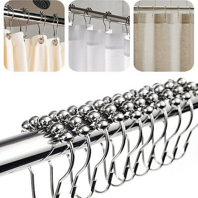 12Pcs/Set Chrome Plated Ball Bead Easy Glide Shower Metal Curtain Rings Hooks