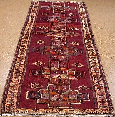 "PERSIAN KURDISH Tribal Hand Knotted Wool RED Oriental Rug RUNNER 4'6"" x 12'"