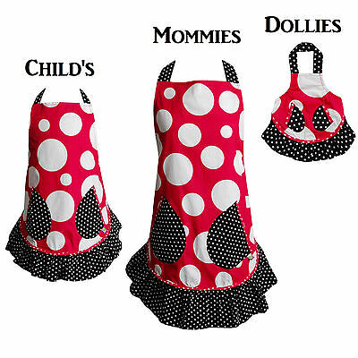 Dollie & Me Matching Mommy, Girl & Doll Red Black Ruffled Polka Dot Aprons OSFA