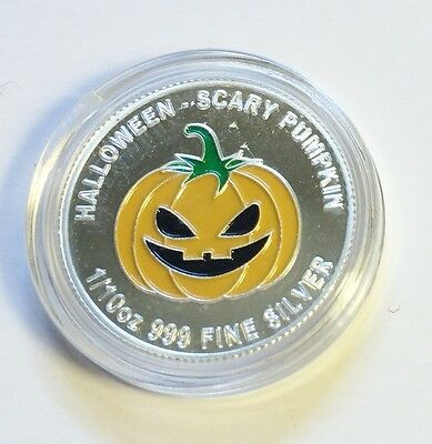 """2014 Halloween """"SCARY PUMPKIN"""" 1/10th OZ 999.0 Pure Silver Proof Coin C.O.A,"""