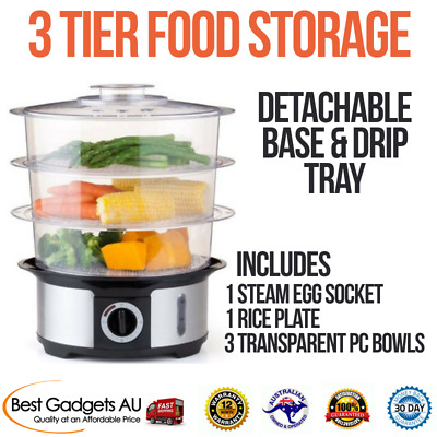 Electric Food Steamer Cooker​, 3-Tier, Columns  w/ Steam Timer Bell Kitchen Home