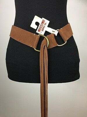 New Mossimo Brown Suede Leather Belt with Fringe Size Small Country Western