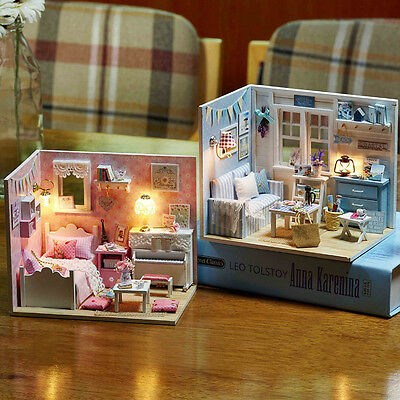New DIY Wood Dollhouse Miniature With LED+Furniture+Cover Dollhouse Room Kits