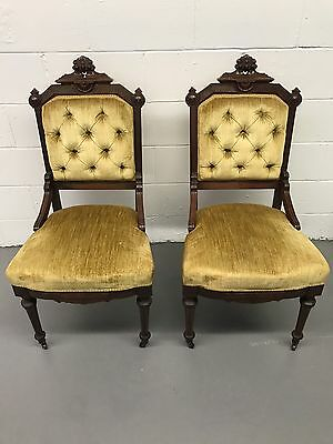 Pair Antique Victorian Parlor Chairs  With Casters