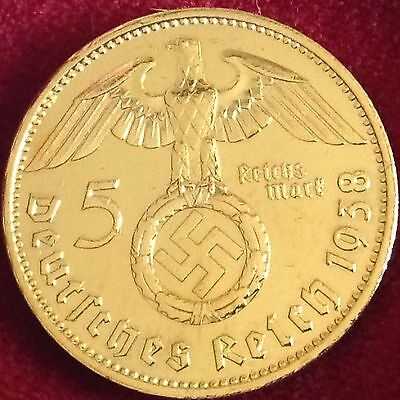 1938 A  Germany 5 Reichsmark Silver Coin Gold Plated