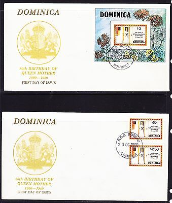 Dominica 1980 Queen Mum's 80th Birthday (2) First Day Covers