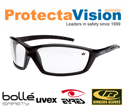 NEW Bolle Prowler Safety Glasses Gloss Black Frame Clear Lens