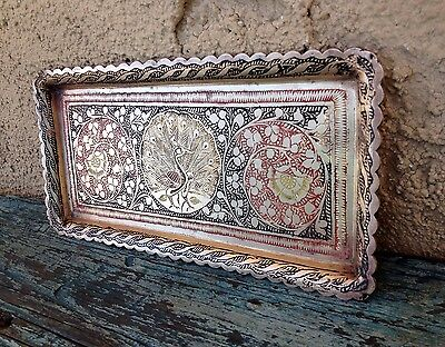 Nice Vintage Solid Brass Small Tray Made In India With Engraved Peacocks & Vines