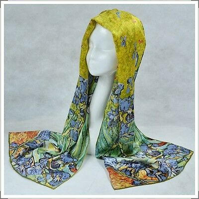 "Oblong 100% Charmeuse Silk Scarf Shawl Wrap Art Oil Painting Van Gogh's ""Irises"""