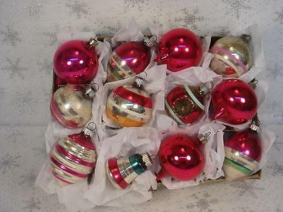 Vtg Lot 12 Shiny Brite Christmas Ornaments In Box Indent Bell Teardrops  Stripes