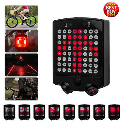Bicycle Bike Rear Tail Laser LED Indicator Turnning Signal Light Remote Control