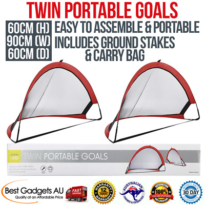 Twin Portable Goals Set Red Soccer Training Goal Sport + Stakes & Carry Bag Kids