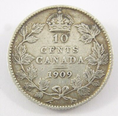 1909 Canada 10 Cents 92.5% Sterling Silver King Edward Coin S Ten -61