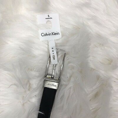 CALVIN KLEIN Women's NWT Reversible Black Gray Leather Belt Silver Buckle Small