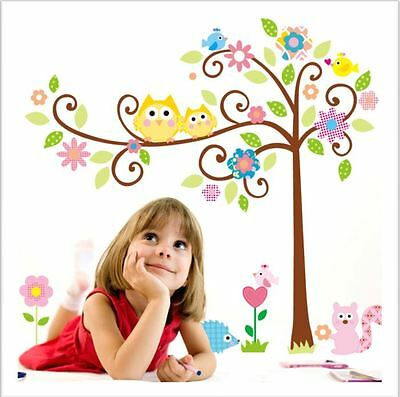 Owls On A Tree With Flowers Wall Sticker/decal/nursery/toy Room