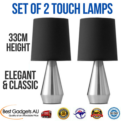 Touch Lamps Set of 2 Table Lamp Shade Desk Light Side, Contemporary Classic