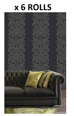 Black Damask Wallpaper Quality Quinetet Traditional Floral Arthouse Box of 6