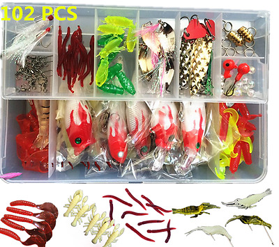 102 Sea Fishing Lure Set Spinners Plugs Spoons Soft Bait Ideal Pike Trout Salmon