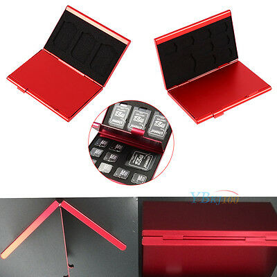 Aluminum Red Micro SD TF Memory Card Storage Box Protecter Case  4x SD 8x TF