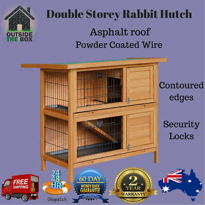Wooden Rabbit Hutch Guinea Pig Cage Pet House Double Story with Ramp New Timber