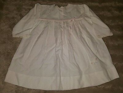 BABY GIRLS Sz 0 white & pink floral long sleeve dress CUTE! SWEET! BUTTERFLY!