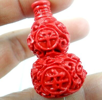 Chinese Red Organic Cinnabar Pendant  necklace hand-carve of gourd D7