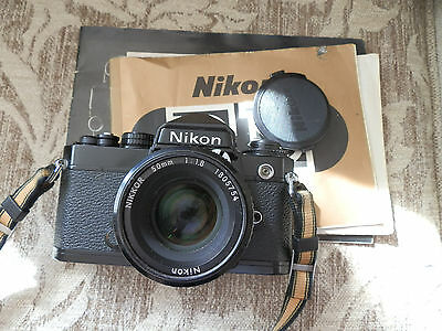 Quality Nikon FE 35mm SLR Black Camera, Nikkor 50mm 1:1.8 AI Lens, Instructions