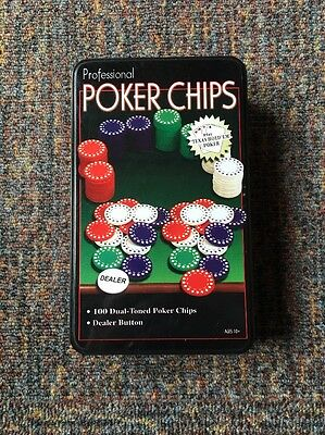 100 Professional Dual Toned Poker Chips FREE UK P&P
