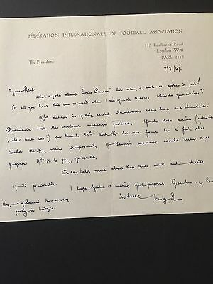 Letter written and signed by Sir Stanley Rous. FIFA