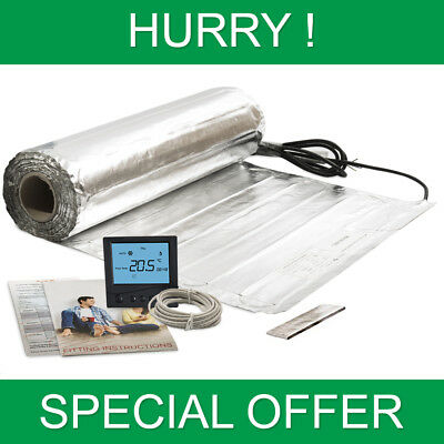 Electric Under Laminate & Wood Underfloor Heating Foil Heat Mats With Thermostat
