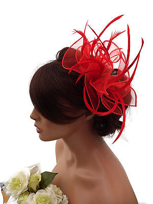 Stunning Red Chiffon Look and Feather Fascinator on a Clear Hair Comb Slide