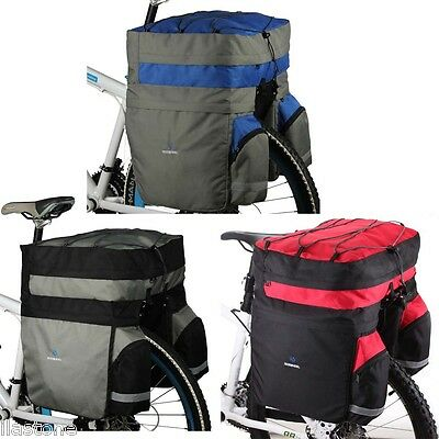 Large 60L Bicycle Double Side Panniers Bag Bike Rear Rack Tail Seat Trunk Bag