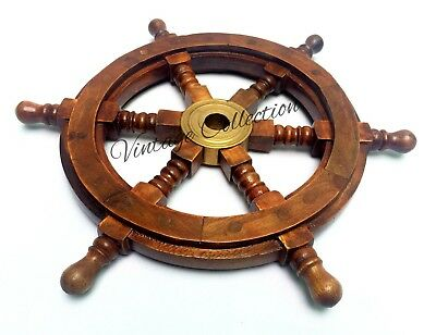 Nautical Wooden Ship Steering Wheel Pirate~Decor Brass Wall Boat Captains Wheel