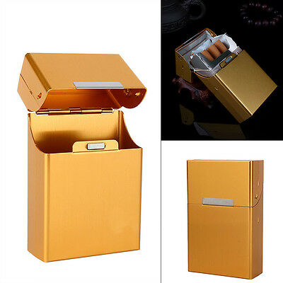Cigar Cigarette Tobacco Storage Gold Pocket Aluminum Metal Box Holder Case