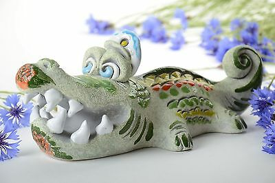 Handmade Designer Semi Porcelain Statuette Of Crocodile Painted With Pigments