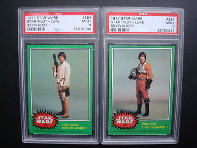 Lot Topps 1977 *STAR WARS Green* PSA 9 ERROR + Correct Key #264 Mis-Slabbed CARD