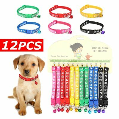 12PCS/Lot Dog Collars Pet Cat Nylon Collar with Bell Necklace Buckle Wholesale