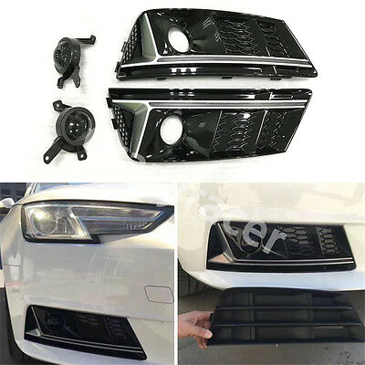 Black Front Fog Light Cover Grille Trim for Audi A4 B9 2016+ To S4 Style