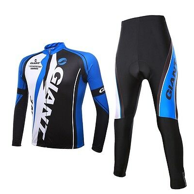 Quick  Dry  long  Sleeve + pants  Giant Cycling Outdoor sport Blue white