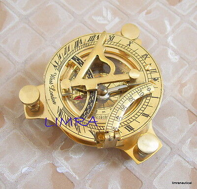 Nautical Brass West London Sundial Compass Marine Working Pocket Compass Gift 3""