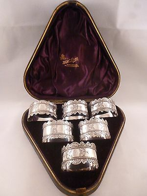 Scottish Silver Plated  Oval Napkin Rings, Mongram 'B', Boxed, WW Logan, Glasgow