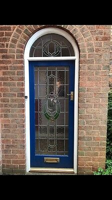 Traditional 1950s Stained Glass Door & Top Arched Glass