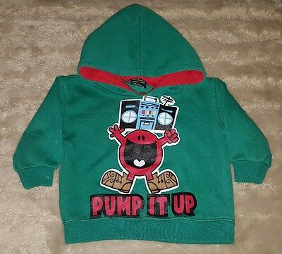 BABY BOYS 0 green & red MR MEN hooded jumper CUTE! COOL! TRENDY! PUMP IT UP!