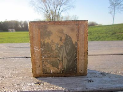 Antique Vintage Hand Made Wooden Box Religious  Angel and Baby BX4