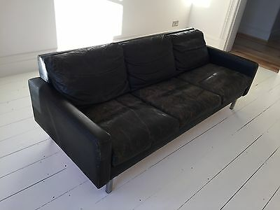 Vintage 70s club leather sofa