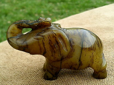 Antique - Chinese - Hand Carved - Yellow Jade  - Elephant   - Free Shipping