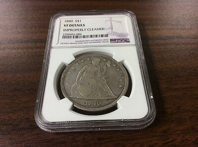 1840 Seated Liberty Dollar NGC VF Details $1 Silver Coin USA