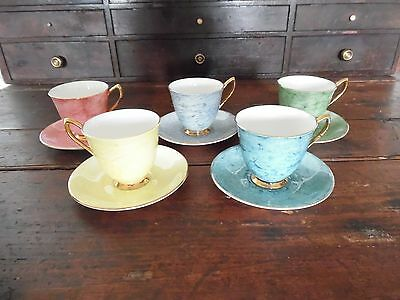 Royal Albert Bone China England  Gossamer 5 Cups And Saucers